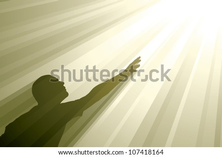 Realistic vector silhouette of a man reaching up toward glowing golden rays of light. - stock vector