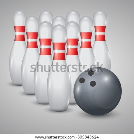 Realistic vector skittles and ball for a bowling - stock vector