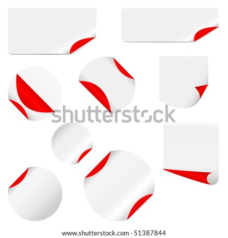 realistic vector stickers with peeling corners - stock vector
