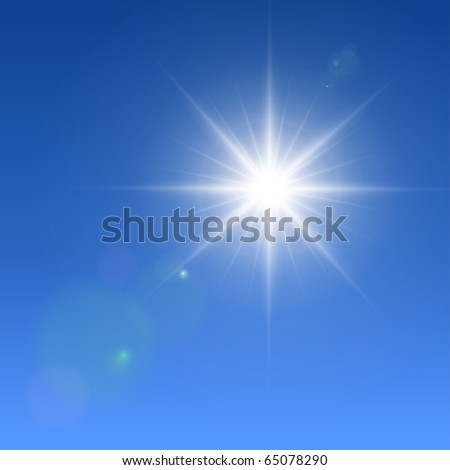 Realistic vector sun with lens flares. - stock vector