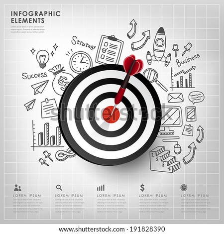 realistic vector target illustration infographic elements design  - stock vector