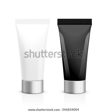 Realistic vector template.  Tubes and plastic box of cream or medical product on white background. It can be use for you design. - stock vector