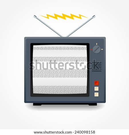 Realistic vector TV. Signal with noise - stock vector