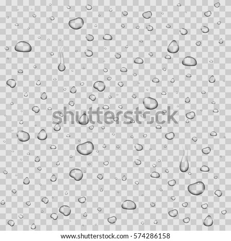 Realistic vector water drops transparent background. Clean drop condensation illustration