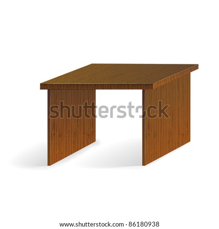 realistic vector wooden brown table isolated on white background - stock vector