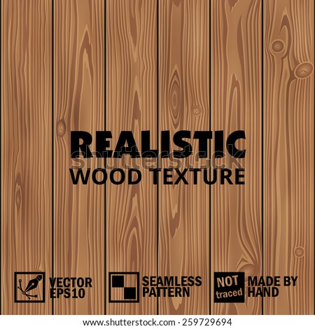 Realistic vector wooden texture. Editable seamless background - stock vector