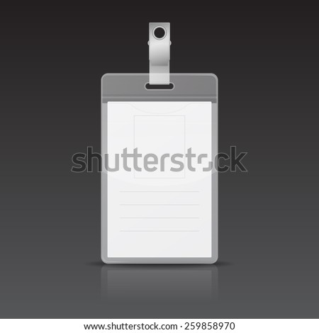 Realistic Vertical Card Name or ID card with reflection on black background. Vector EPS10 illustration.