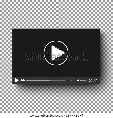 Realistic video player with shadow on plaid background - stock vector