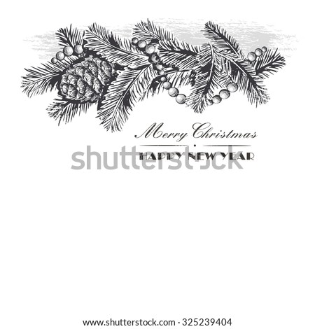 Realistic vintage engraving wreath of fir branches and pine cones, beads isolated on white background. Christmas and New Year design elements  - stock vector