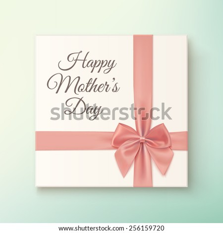 Realistic, vintage gift icon. Greeting card for Mothers Day. Vector illustration - stock vector