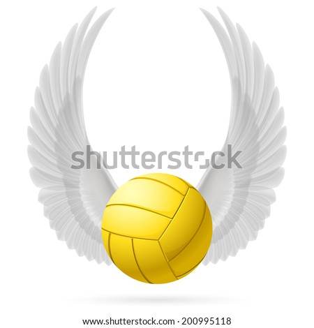 Realistic volley ball with raised up white wings emblem - stock vector