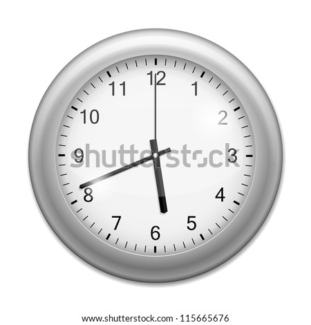 Realistic Wall Clock isolated on white. Vector Illustration