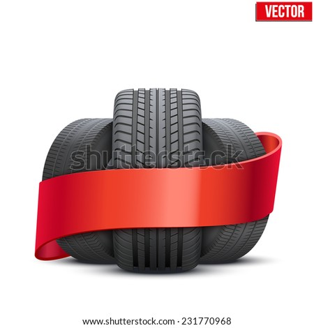 Realistic wheels and tire symbol with ribbon. Front view. Vector Illustration isolated on white background. - stock vector