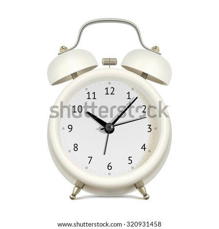 Realistic white alarm clock on white background - stock vector