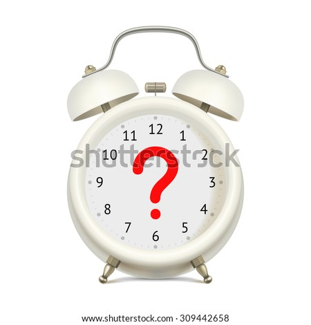 Realistic white alarm clock without digits on clock face, with red question mark in the center, on white background. Uncertainty concept - stock vector