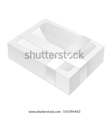 Realistic White Black Package Box lying with a transparent plastic window.