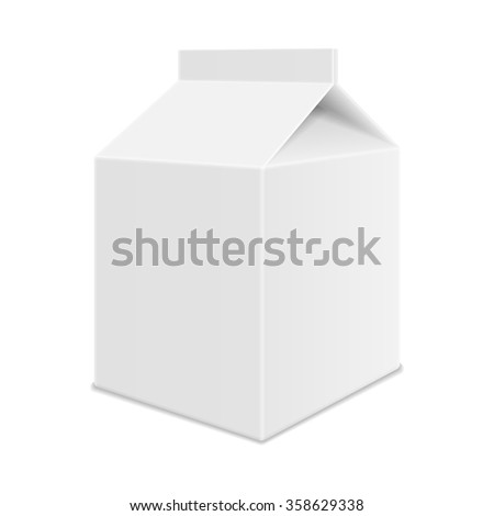 Realistic White Blank Juice, Milk or Soup Carton Package Template. Half Liter. Vector. - stock vector