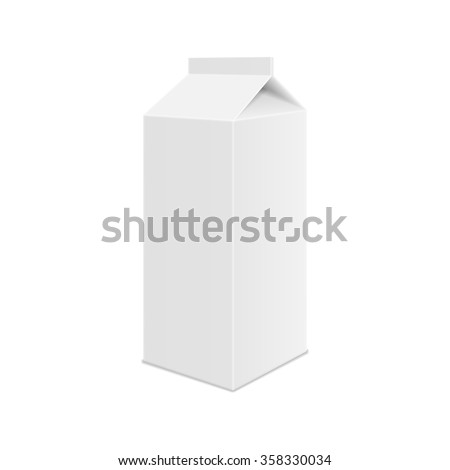 Realistic White Blank Juice, Milk or Soup Carton Package Template. Vector. - stock vector