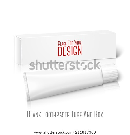 Realistic white blank paper package box with tube for oblong stuff - toothpaste, cosmetics, medicine etc. Isolated on white background with reflection, for design and branding. Vector - stock vector