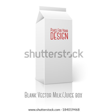 Realistic white blank paper package for milk, juice, cocktail etc. Isolated on white background with reflection, for design and branding. Vector - stock vector