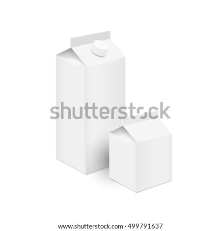 Realistic white blank tetra pak carton boxes for juice and milk. Design mock up template for branding. Vector set