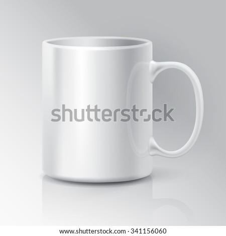 Realistic White Coffee or Tea Cup Isolated on White Background.  Design Template for Mock Up. Vector illustration - stock vector