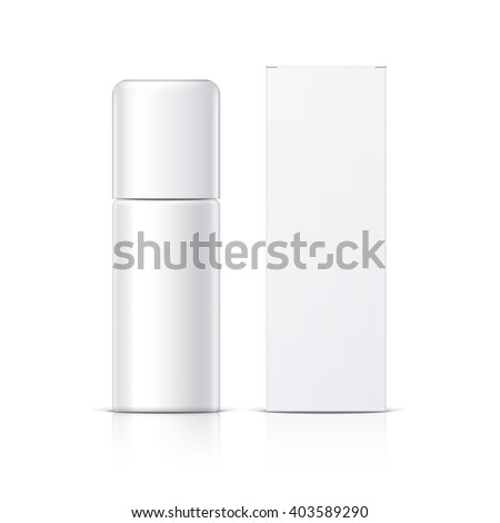 Realistic White Cosmetics bottle can Spray and packaging, Deodorant, Air Freshener. Object, shadow, and reflection on separate layers. Vector illustration - stock vector