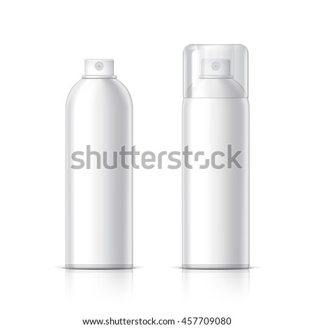 Realistic White Cosmetics bottle can Spray, Deodorant, Air Freshener. With lid and without. Object, shadow, and reflection on separate layers. Vector illustration
