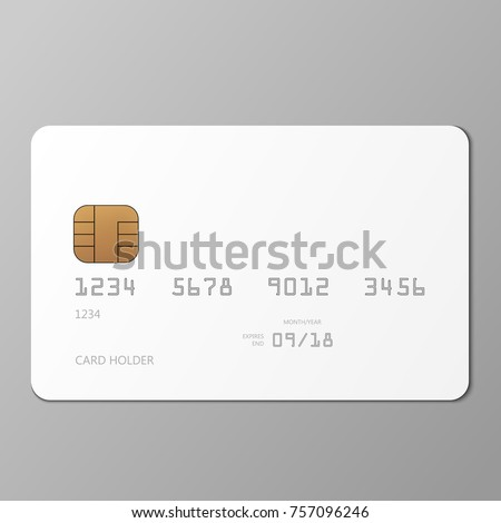 realistic white credit card mockup template stock vector 757096246 shutterstock. Black Bedroom Furniture Sets. Home Design Ideas