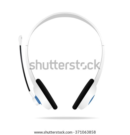 Realistic White Headphones. Vector illustration - stock vector