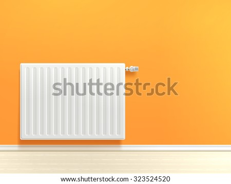 Realistic white heating radiator on orange room wall vector illustration - stock vector