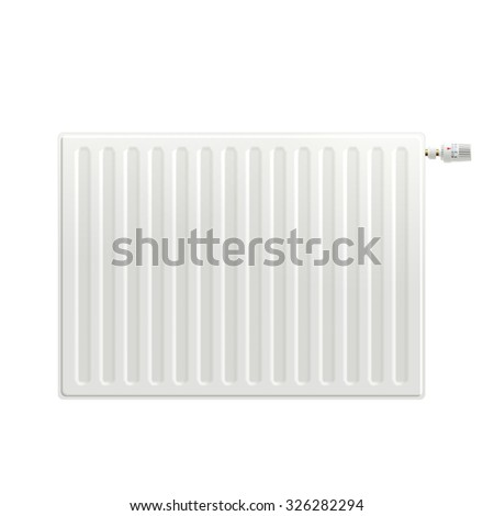 Realistic white indoors heating radiator isolated on white background vector illustration - stock vector