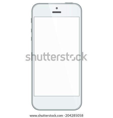 Realistic white mobile phone with blank screen in similar to iphone style isolated on white. Vector EPS10 - stock vector