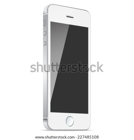 Realistic white mobiles phones with blank screen isolated on white background. Modern concept smartphone devices with digital display. Vector illustration EPS 10 - stock vector