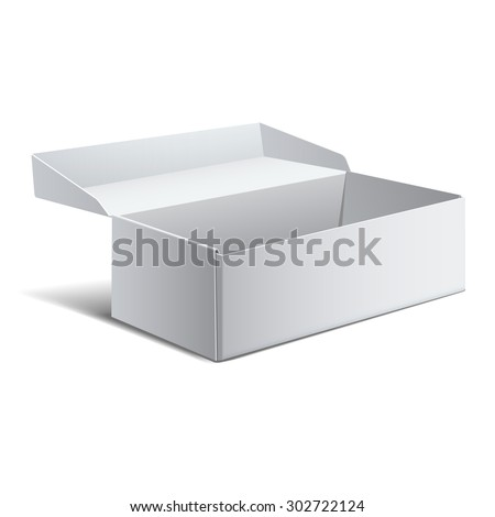 Realistic White Package Box. For shoes, Software, electronic device and other products. Vector illustration. - stock vector