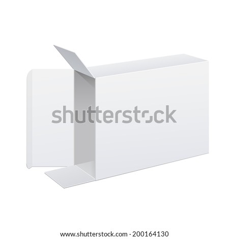 Realistic white Package Box Opened lying on its side. For Software, electronic device and other products. Vector illustration - stock vector