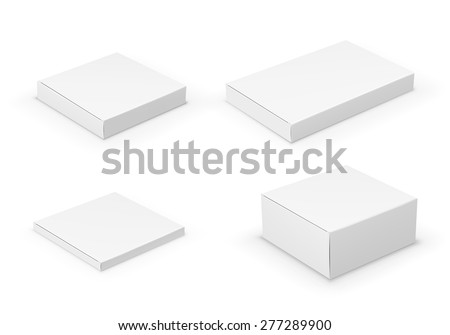 Realistic White Package Boxes.  Four different sizes for luxury, software, electronic device and other products . Vector illustration.  - stock vector