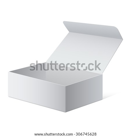Realistic White Package Cardboard Box. For Software, electronic device and other products. Vector illustration. - stock vector
