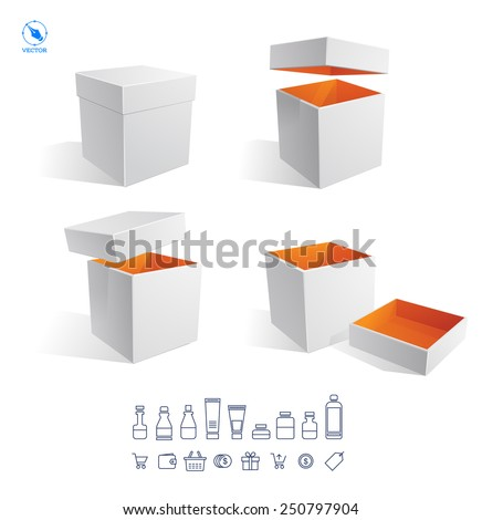 Realistic white Package Cardboard Box Opened. For Software, electronic device and other products. Vector set icons of sale and package. Vector illustration - stock vector