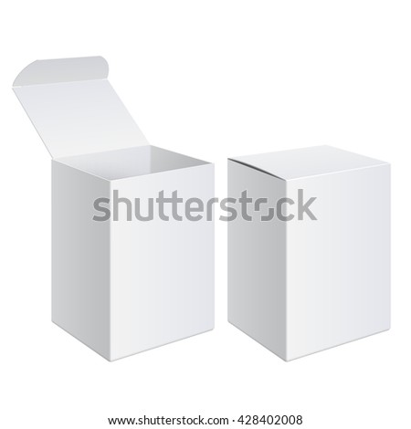 Realistic White Package Cardboard Box set. For Pouch Medicine, electronic device and other products. Vector illustration.