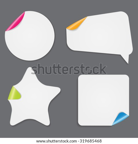 Realistic White Paper Stickers Isolated on White Background Vector Illustration EPS10 - stock vector