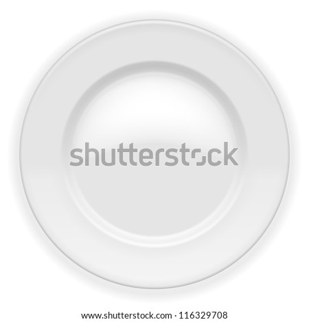 Realistic white Plate isolated on white. Vector Illustration