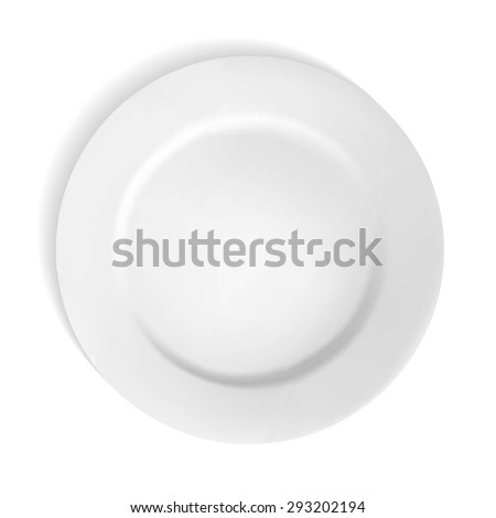 Realistic white Plate isolated on white. Vector Illustration - stock vector