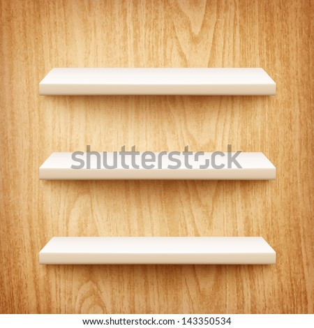 realistic white shelves on wooden wall eps10 - stock vector