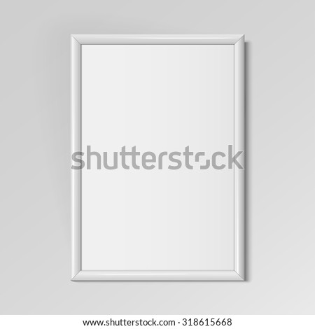 Realistic White vertical frame for paintings or photographs hanging on the wall. Vector illustration. - stock vector