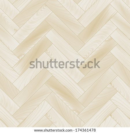 Realistic white wooden floor herringbone parquet seamless pattern, vector - stock vector