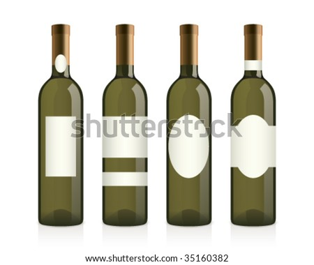 realistic wine bottles with different labels - stock vector