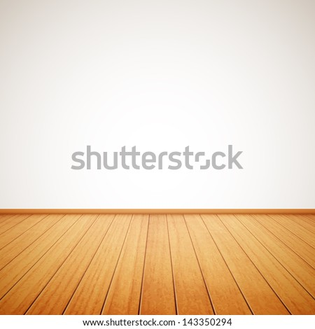 realistic wood floor and white wall eps10 - stock vector