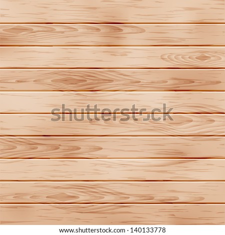 Realistic wooden texture with boards. - stock vector