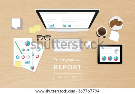 Realistic work desk organization top view with textured table with analytics process using computer, smartphone, tablet pc and report with diagram - stock vector